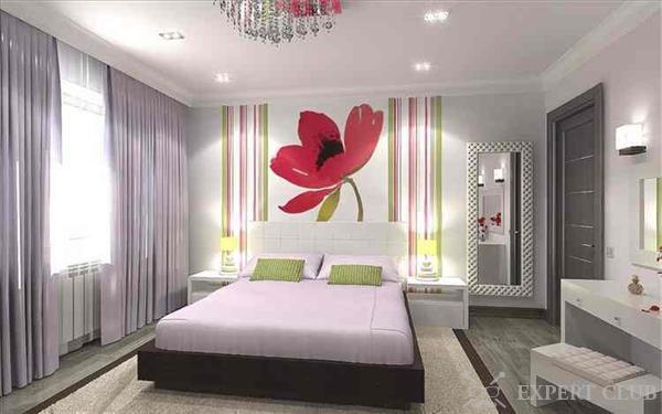 обои в спальню комбинированные фото дизайн