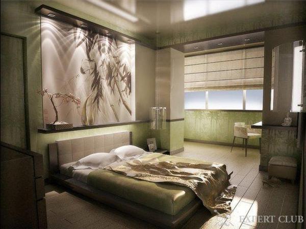 Небольшая спальня, совмещенная с балконом