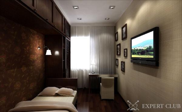 Оформление прямоугольной спальни с балконом