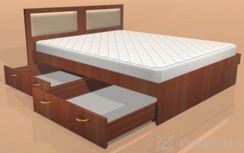 Модель кровати с двумя ящиками