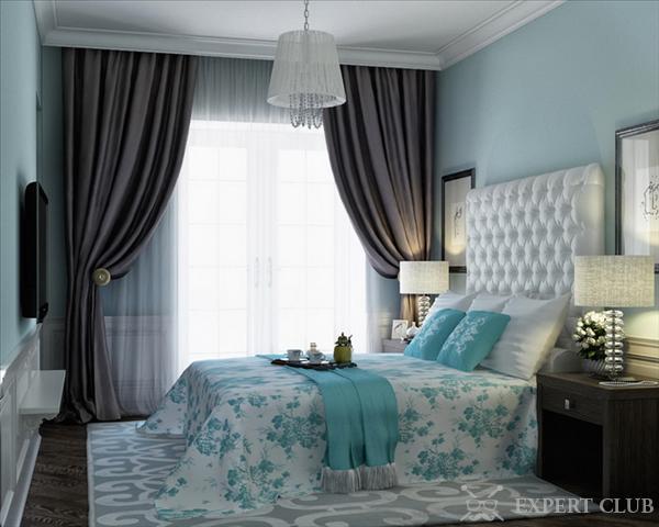 спальня в коричнево-бирюзовых тонах фото