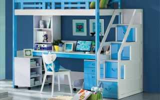 Кровать-чердак с рабочей зоной – отличное решение для детской