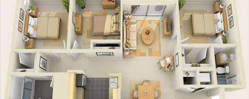 Проект одноэтажного дома с тремя спальнями