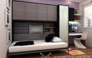 Откидная горизонтальная кровать в интерьере комнаты