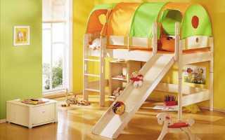 Кровать-чердак с горкой – веселимся дома